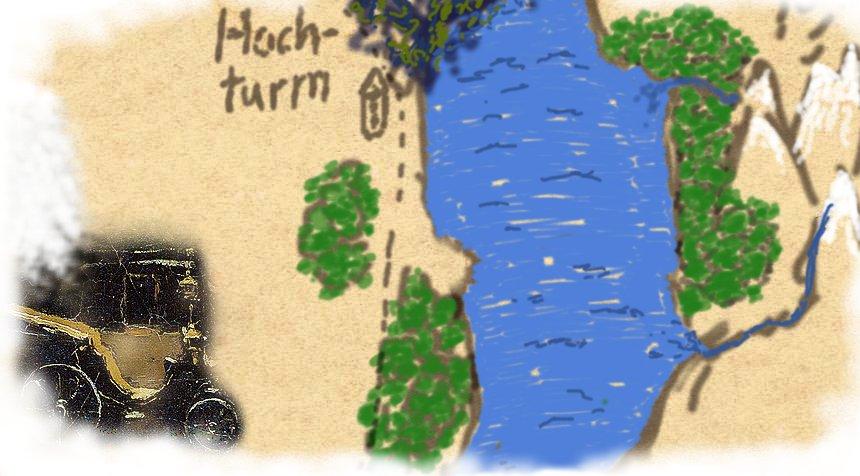 Karte mit Karosse